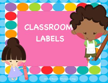 Classroom Labels Blue Dots