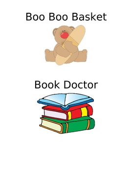 Classroom Labels: Boo Boo Basket and Book Doctor Basket