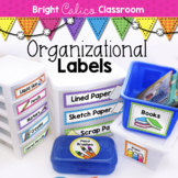 Classroom Organization Labels  {Bright Calico Classroom}