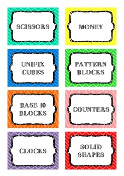 Classroom Labels - Bright Chevron