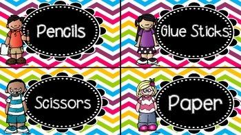 Classroom Labels Bright Chevron Background
