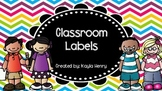 Classroom Labels Bright Chevron Background