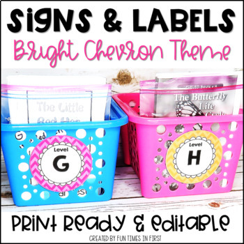 Classroom Labels {Bright Chevron Theme}