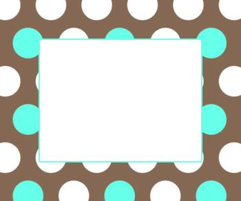 Classroom Labels- Brown and Blue Polka Dot