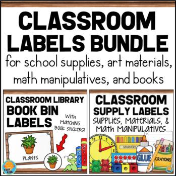 Classroom Labels Bundle - Supplies, Math Manipulatives, & Library Labels