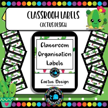 Classroom Labels - Cactus theme Back to School
