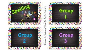 Classroom Labels Chalkboard Theme with Pictures