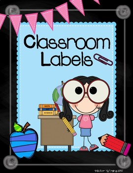 Classroom Labels:  Chalkboard and Turquoise Theme