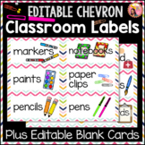 Editable Classroom Labels - Chevron Borders with pictures