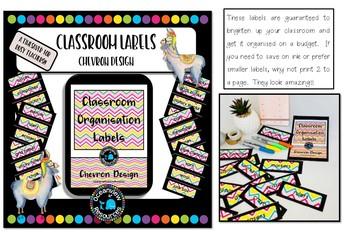 Classroom Labels - Chevron Design with black border- Back to School