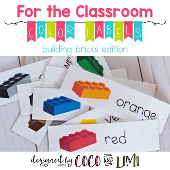 Classroom Labels - Colors - Building Bricks