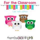 Classroom Labels - Colors - Cute Owls