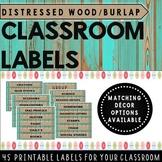 Classroom Labels Distressed Wood (teal) and Burlap {Classroom Decor} EDITABLE