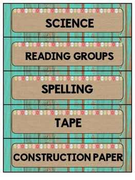 Classroom Labels Distressed Wood (teal) and Burlap {Classroom Decor} EDITABLE