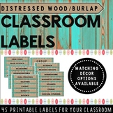 Classroom Labels Distressed Wood (teal) and Burlap {Classr