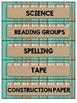 Classroom Labels Distressed Wood (teal) and Burlap {Classr
