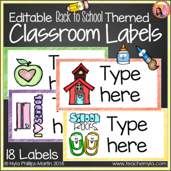 Classroom Labels - Editable - Back to School Theme