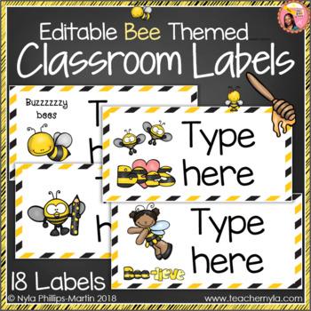 Classroom Labels - Editable - Bee Theme