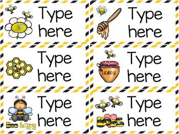 Bee Theme Classroom Labels - Editable