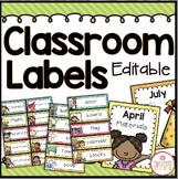 Classroom Labels - Editable {Brights Classroom Set}