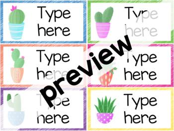 Cactus Classroom Labels - Editable