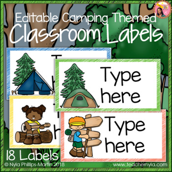 Classroom Labels - Editable - Camping Theme