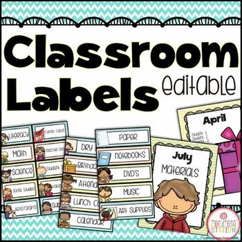 Editable Classroom Labels {Chevron Classroom Set}
