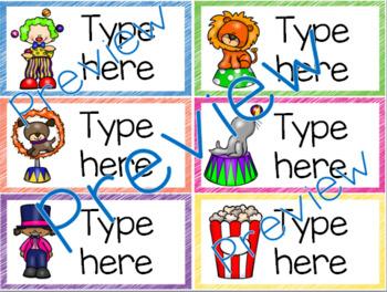 Classroom Labels - Editable - Circus Theme