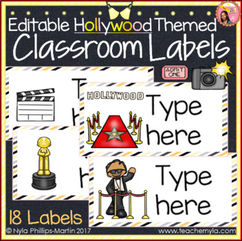 Classroom Labels - Editable - Hollywood Theme