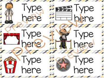 Classroom Labels - Editable - Hollywood Theme