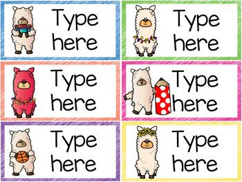 Classroom Labels - Editable - Llama Theme