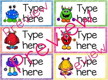 Classroom Labels - Editable - Monster Theme