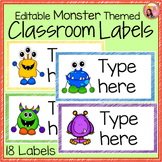 Classroom Labels - Editable - Monster Theme