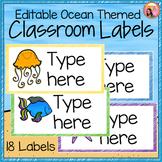 Classroom Labels - Editable - Ocean Theme