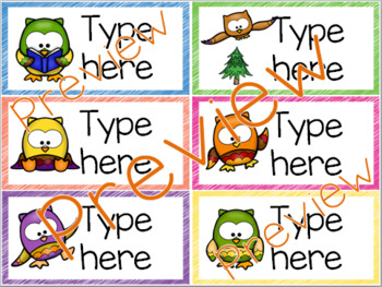 Classroom Labels - Editable - Owl Theme