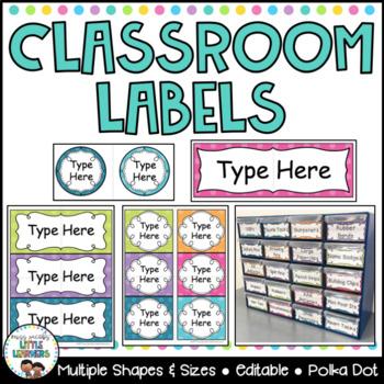 Classroom Labels - Editable Polka Dot