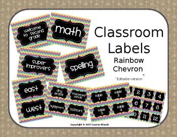 Classroom Labels {Editable Rainbow Chevron}