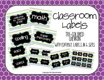 Classroom Labels {Editable Tri-Colored Chevron}