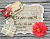 Classroom Labels (Editable -Vintage set)