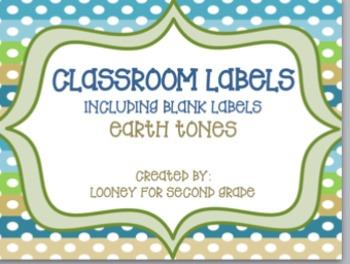 Classroom Labels Editable in Earth Tones
