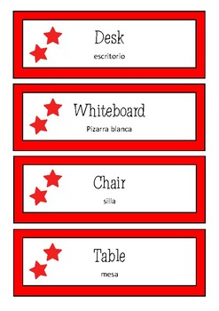 Classroom Labels - English with Spanish Translation