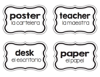Classroom Labels English/Spanish