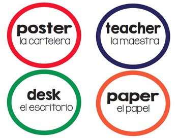 Classroom Labels English/Spanish-Circles