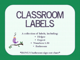 Classroom Labels - Expert, Helper, Numbers, Bathroom