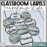 Classroom Labels Editable (Farmhouse Classroom Decor)