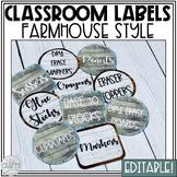 Classroom Labels Editable   Farmhouse Classroom Decor