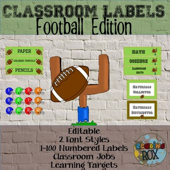 Classroom Labels- Football Themed- Editable *Back To School*