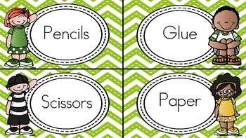 Classroom Labels (Green Chevron Background)