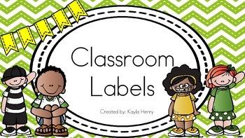 Classroom Labels (Green Chevron Background)