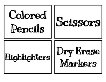 Classroom Labels - Library and Materials